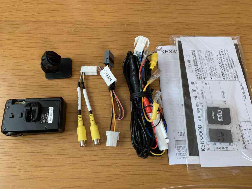 ケンウッド製のドラレコ DRV-N530 付属品一覧